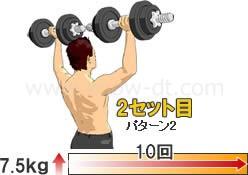 重量を減らして2セット目