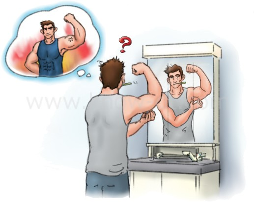 朝は筋肉がお休みモードになり、一時的にしぼんで見えます。